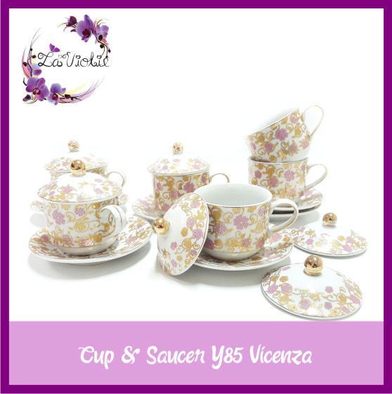 Tea Set Cangkir Lepek dengan Tutup Cup & Saucer Y85 Vicenza