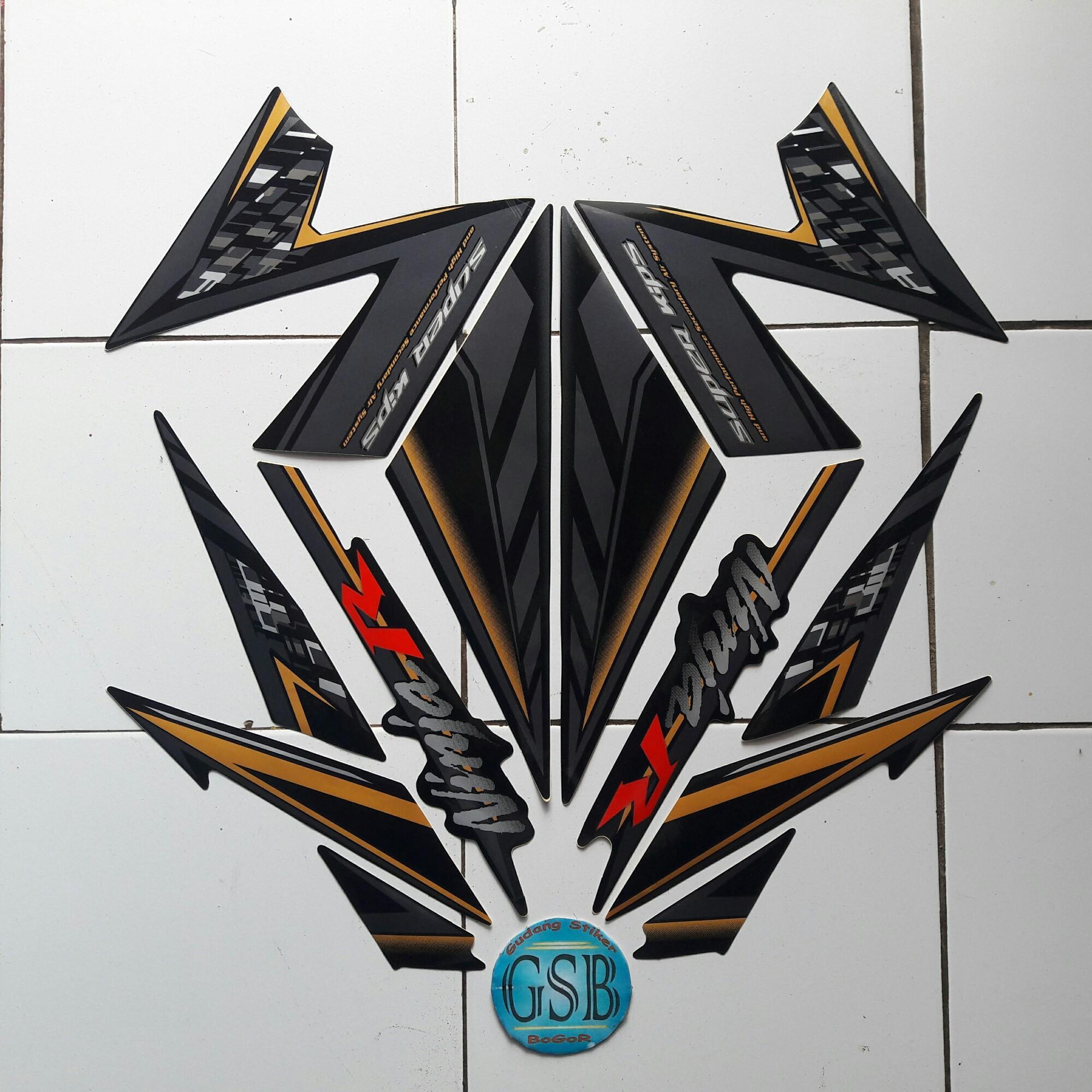 Striping stiker motor kawasaki ninja r 2014 hitam