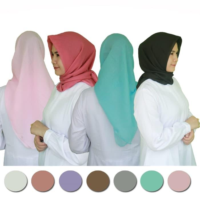 Kerudung bahan paris - jilbab segi empat  polos murah
