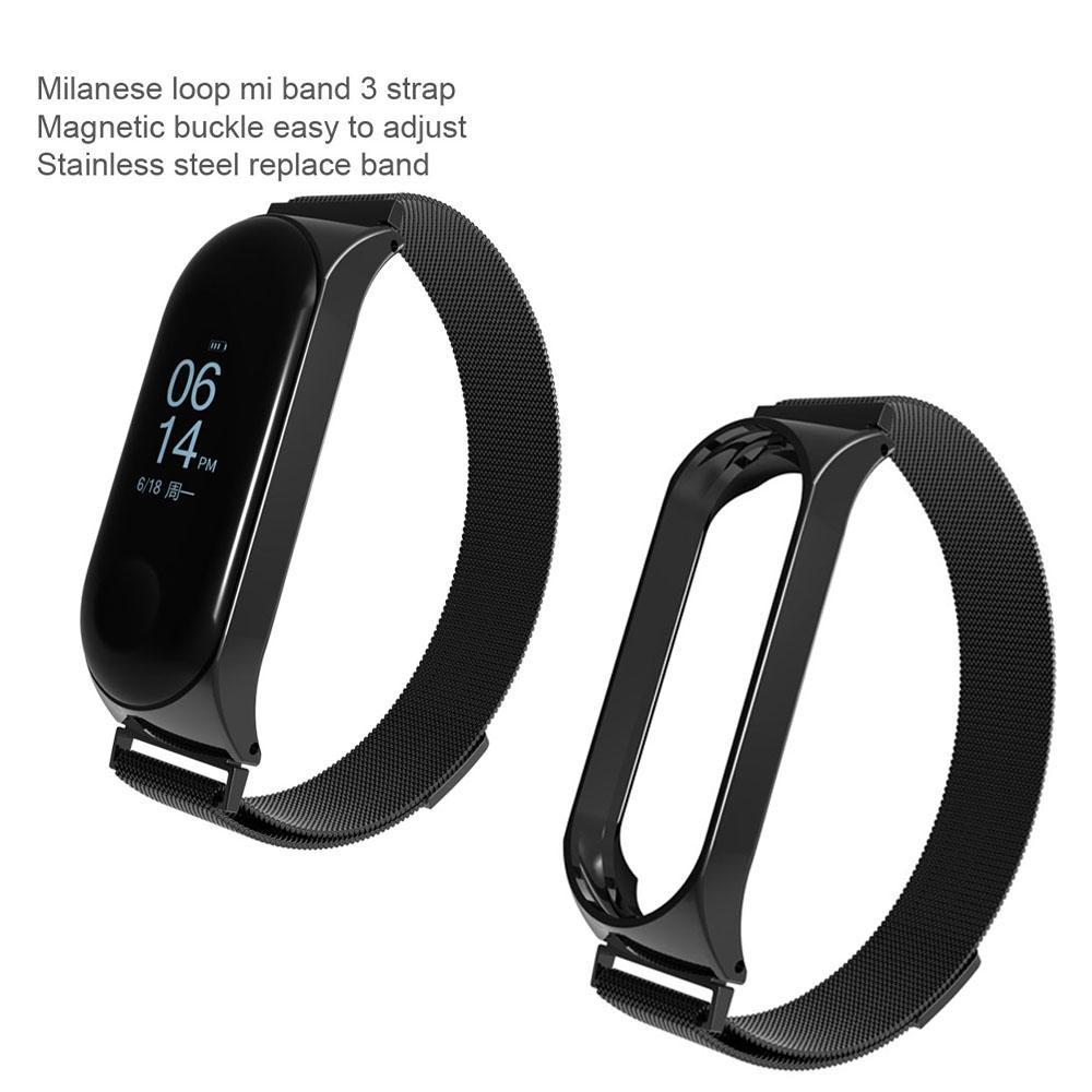 Fitur Milanese Metal Strap For Xiaomi Mi Band 3 Smart Watch 2 Original Bracelet Screwless Stainless Steel Miband