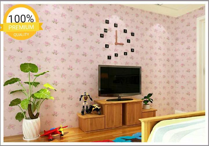 ... Grosir murah wallpaper sticker dinding kamar ruang indah bagus cantik elegan pink daun hijau bunga pink