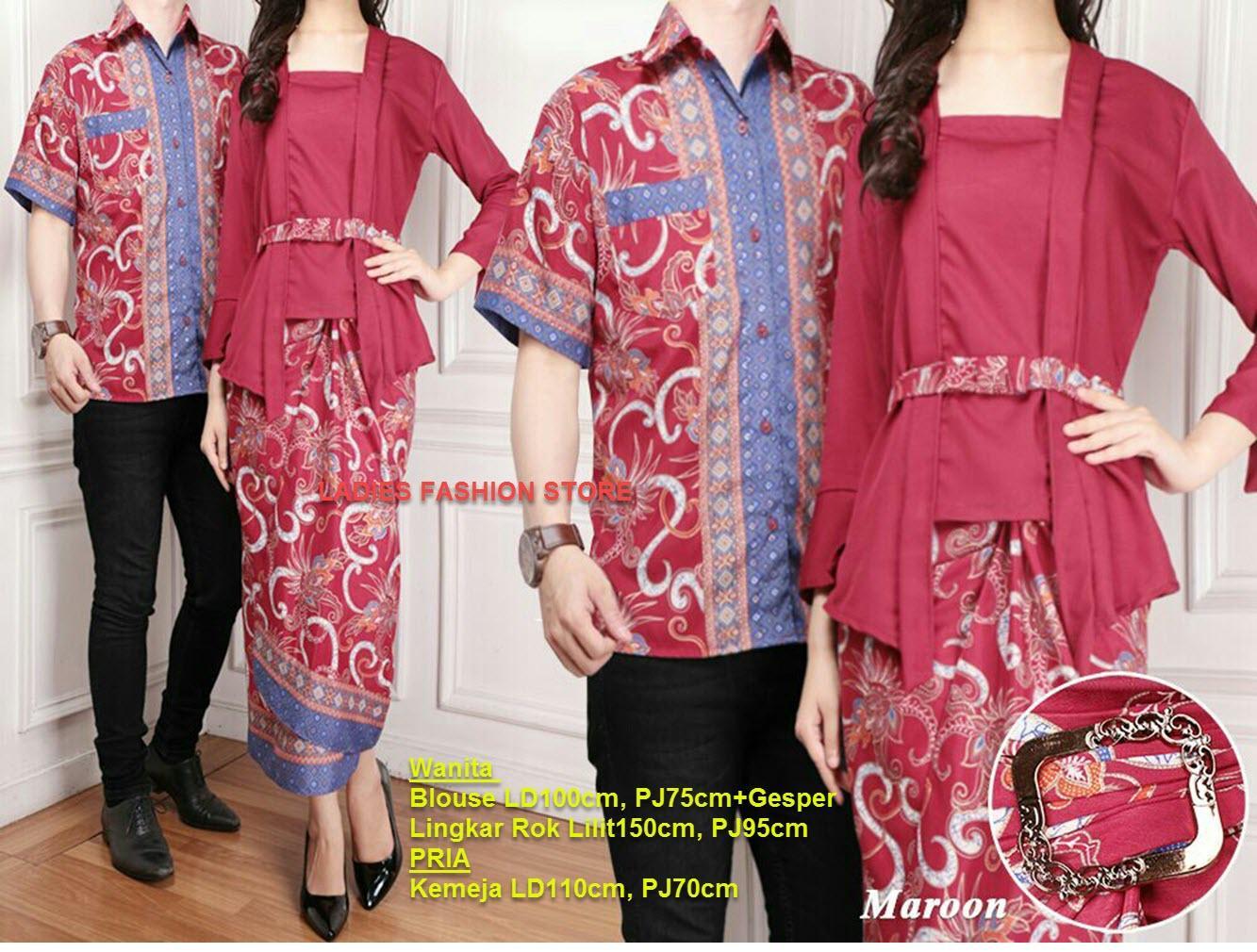 LF  Batik Couple/ Batik Pasangan Wanita dan Pria Modern Keluarga / Batik Murah / Batik Lebaran / BATIK Masa Kini / Batik Bahan Adem / Baju lebaran / Batik Gamis / Kemeja Pria / Atasan Pria / Setelan Batik (ntasi) 7T - MARUN MERAH / Pakaian Batik Muslim