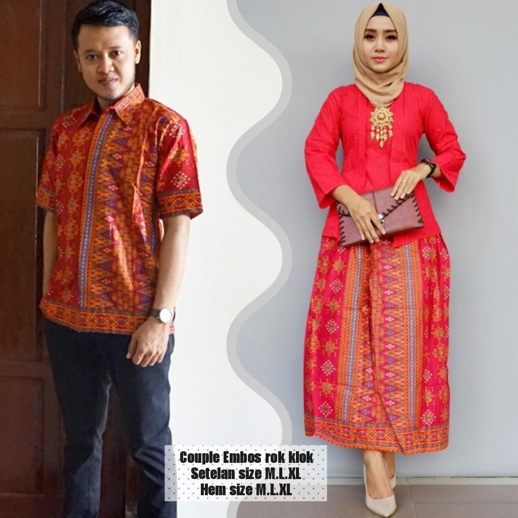baju couple sarimbit batik terbaru bahan katun warna merah BSG619