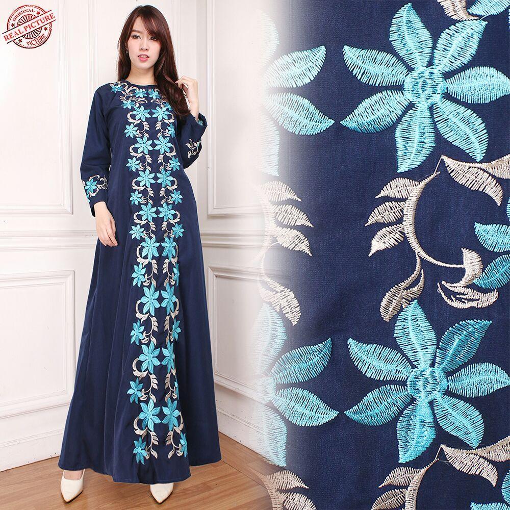 Glow Fashion Dress maxi panjang gamis kaftan wanita jumbo long dress Denisa