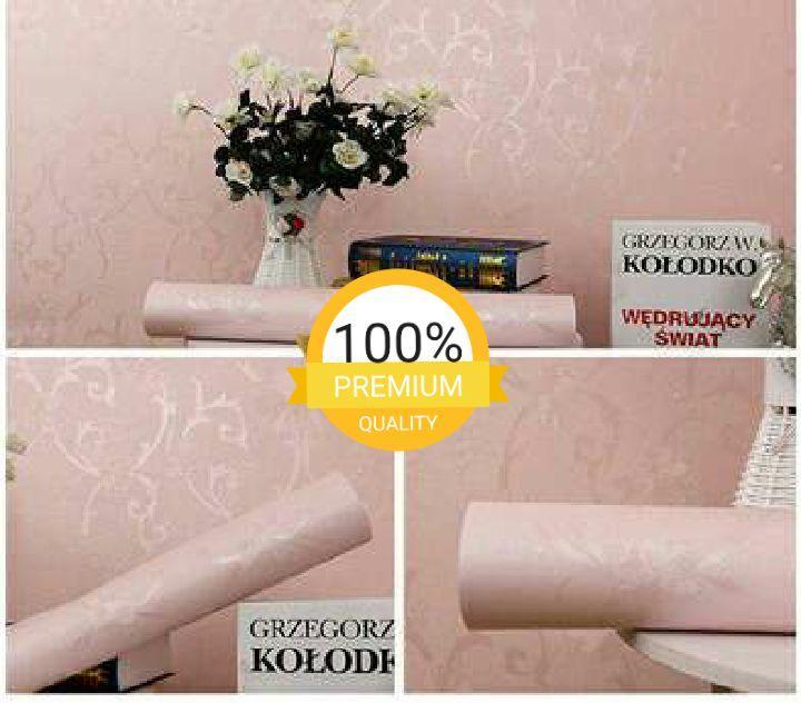 Wallpaper dinding murah ruang tamu rumah kamar tidur pink peach polos berserat batik silver terbagus termurah terlaris elegan minimalis cantik indah
