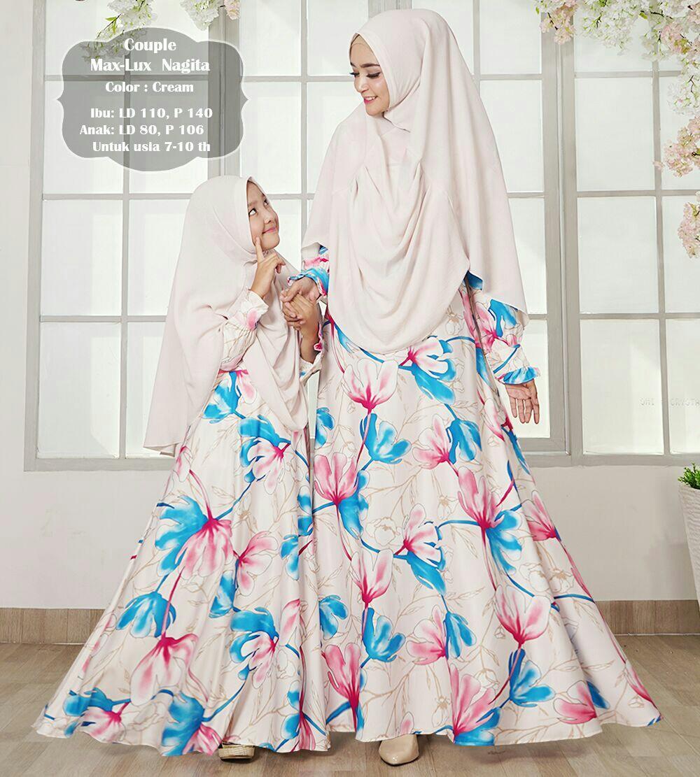 Humaira99 Gamis Muslim Syari Couple Ibu dan Anak Dress Hijab Muslimah Atasan Wanita Maxmara Lux Nagita
