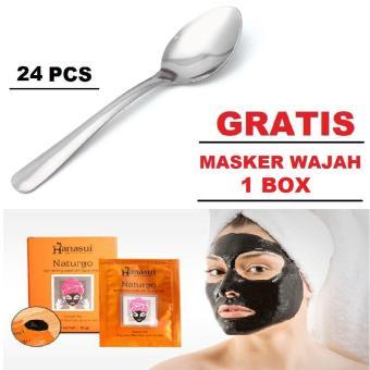 ... Pencarian Termurah 24pc Sendok Makan Polos Stainless Steel Bulat GRATIS PROMO Masker Wajah 1 BOX harga