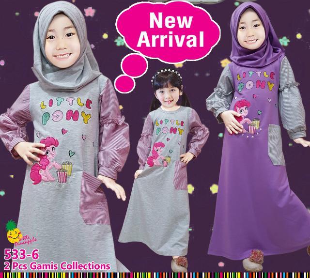 Baju Muslim Gamis Kaos Anak Perempuan Little Pineapple LP Pony Garis