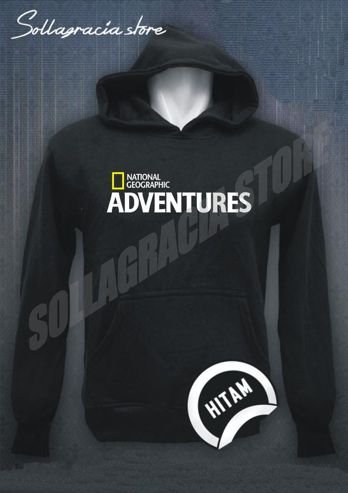 JAKET SWEATER HOODIE NATIONAL GEOGRAPHIC ADVENTURES HITAM