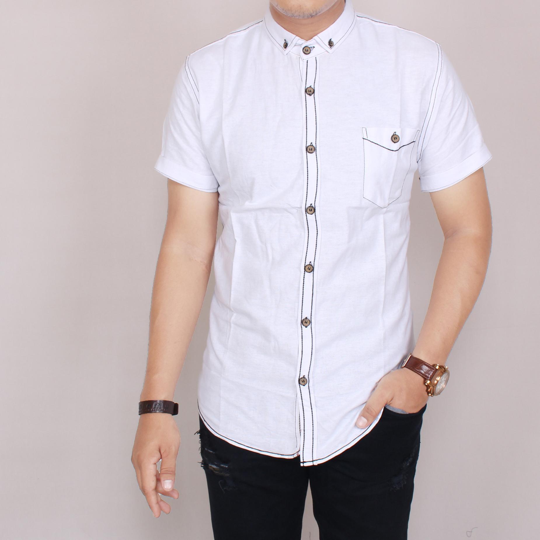 Zoeystore 5852 Kemeja Polos Motif Salur Pria Lengan Pendek Exclusive Baju Kemeja Polos Cowok Kerja Kantoran Formal Kemeja Import Putih