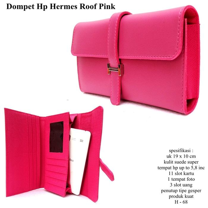 dompet hpo hermes wanita kulit soft casual roof pink - cAkM5T