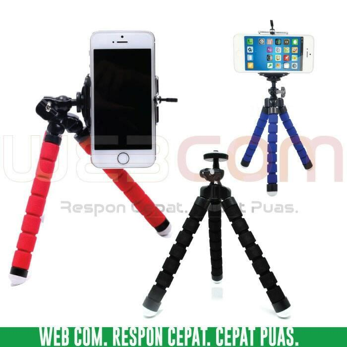 PAKET TRIPOD HP MINI FLEXIBLE + CLAMP MINI TRIPOT FLEKSIBEL SMARTPHONE