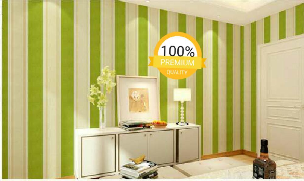 ... Grosir murah wallpaper sticker dinding kamar ruang indah garis hijau putih - 3 ...