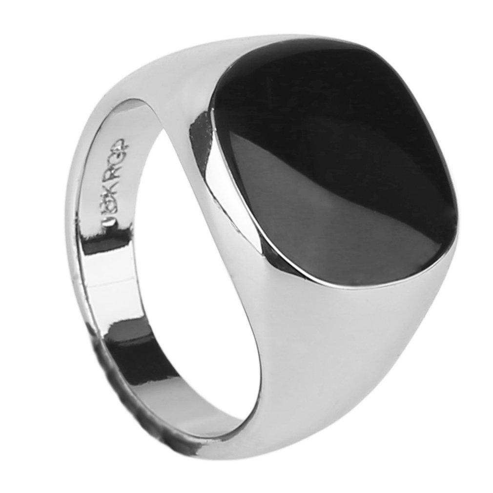 LALOVE Luxury Super Cool Vintage Men Male Ring Jewelry Titanium Steel Domineering Obsidian Party Club Ring Jewelry Best Jewelry Gift 19mm