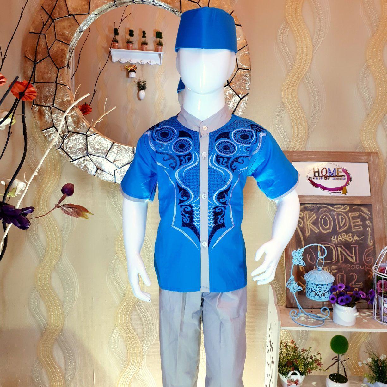 Seginilah Harga Baju Koko Anak Lengan Pendek Murah Terbaru 2018 Setelan Rbj477 Peci Biru