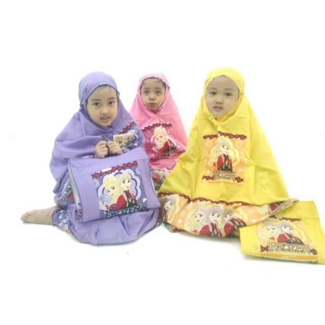 Mukenah Frozen/ little pony ukuran S (2-3th) hijau