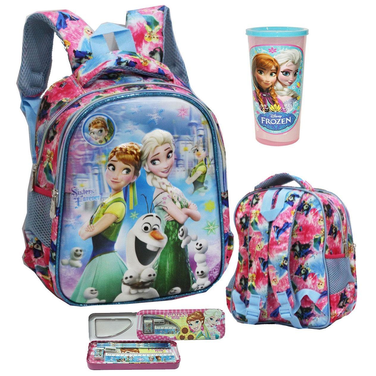Onlan Disney Frozen Fever Salju 5D Timbul Hologram Tas Ransel TK Dua Kantung dan Kotak Pensil + Gelas Minum Anak - Purple