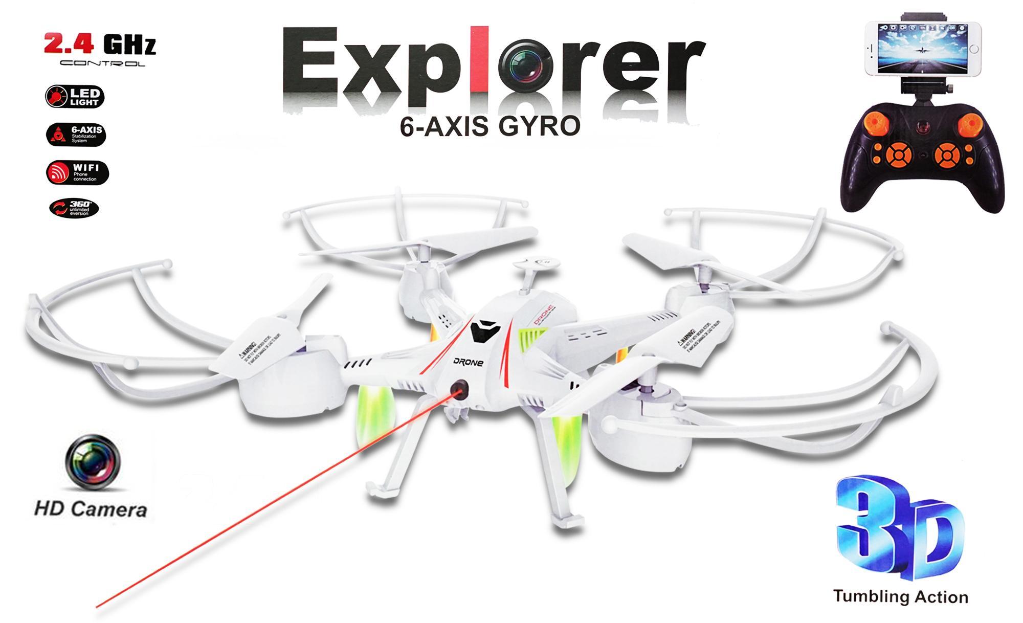 RKJ Mainan Drone Explorer Camera WIFI with FAR SHOT LASER LIGHT