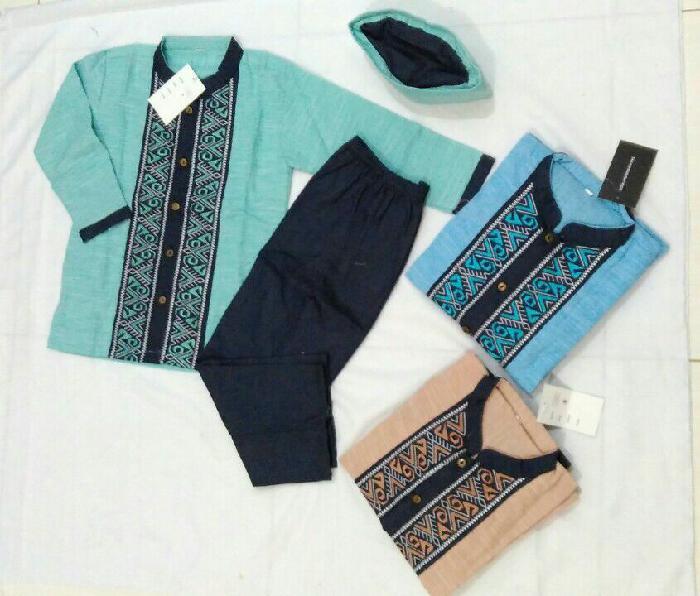 Baju Muslim Anak Setelan Koko Katun Bordir Celana Bahan Blue Jeans