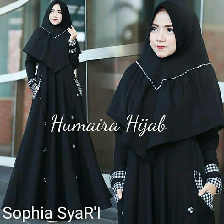 Baju Original Shopia Syari Baloteli Mix Kotak Katun Gamis Panjang Wanita Muslim Pakaian Cewek Gaun Muslimah Hijab Terbaru