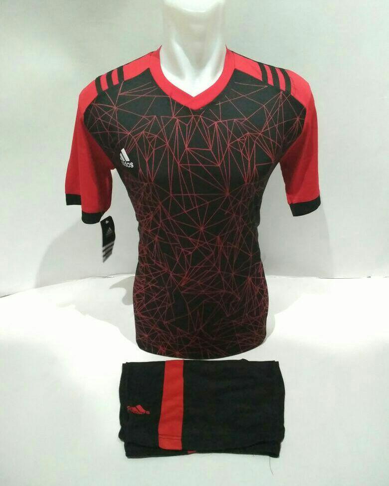 Baju Kaos Olahraga Jersey Bola Setelan Futsal Volley Ad 02 Hitam Merah