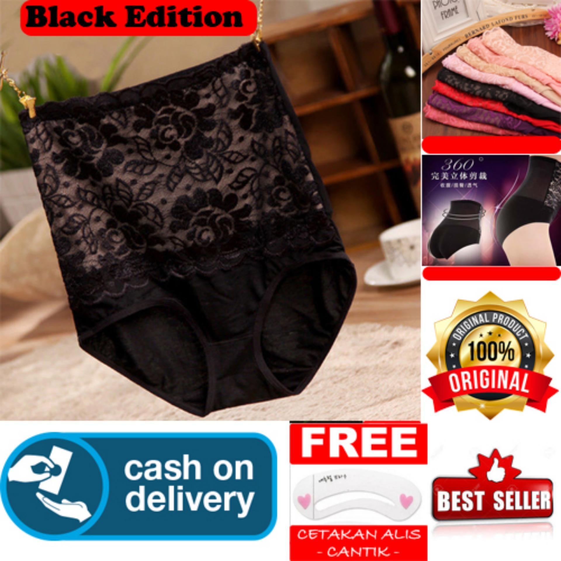 HOKI COD - Munafie SEXY LACE High Waist Panties Slim Pant Korset Original Import Pelangsing Celana Bahan Berkualitas - Hitam + Gratis Cetak Alis Cantik - Premium