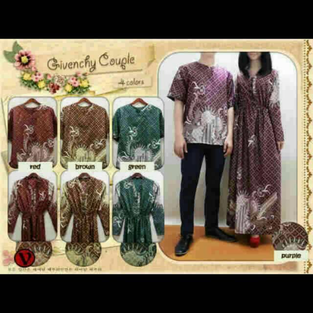 Radhe Baju Couple Pasangan Sarimbit Batik Sutra Sepasang Maxi Baju Koko Murah Premium Longdress - A