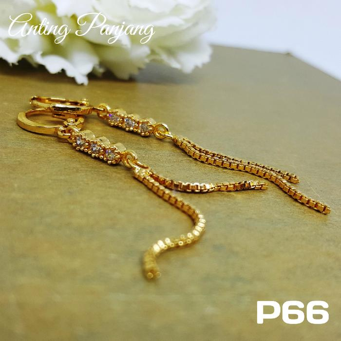 P66 Anting Rumbai Panjang Xuping  - Perhiasan Lapis Emas 18K