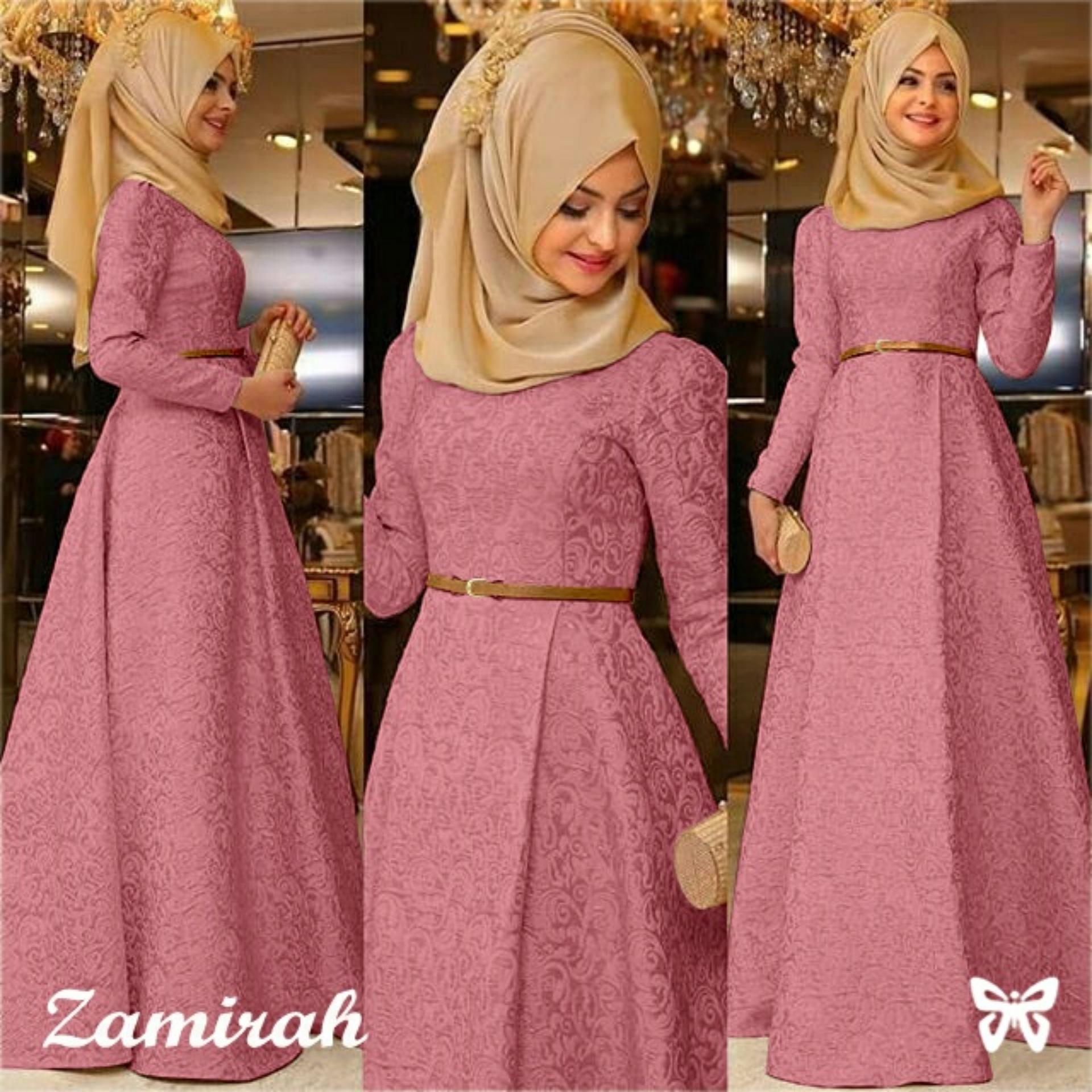Baju Wanita Shop Dress Gamis Muslim Mirah / Hijab Muslim / Muslim Syari Hijab Syar'i / Busana Muslimah / Kebaya Modern Lebaran (Mirahza)  SS - Dusty Pink / Gaun Pesta Lengan panjang 2018