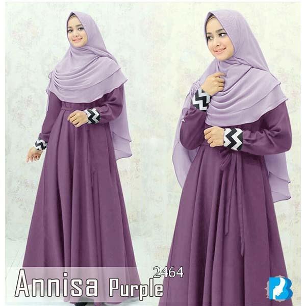 Baju Murah Fashion Muslim Gamis Syari 2464 Annisa Purple 310817