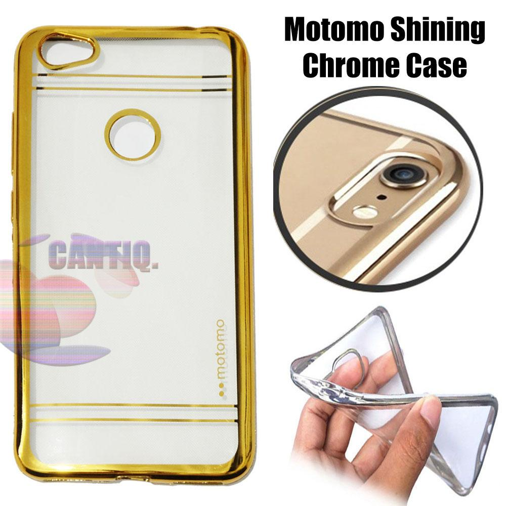 Motomo Chrome Xiaomi Redmi Note 5A Prime Shining Chrome / Silikon Xiaomi Redmi Note 5A Prime Shining List Chrome / Ultrahin Xiaomi Redmi Note 5A Prime List Chrome Gold Jelly Case / Case Xiaomi Redmi Note 5A Prime / Casing Hp - Gold