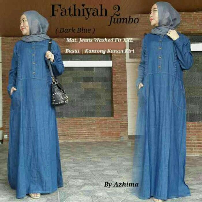 Fatiyah 2 Jumbo - gamis bahan jeans washed