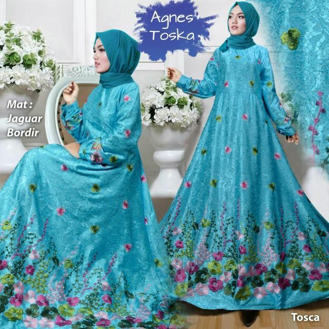 NEW!! Muslim Anggun Toska Gamis Syari Pesta Mewah Xl Murah Lia Tm
