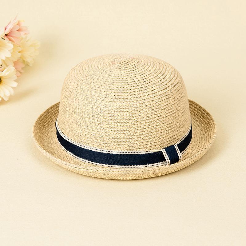 Yalidun Topi Kecil Korea Fashion Style Perempuan Topi Jerami Wanita Inggris (Warna Beras)