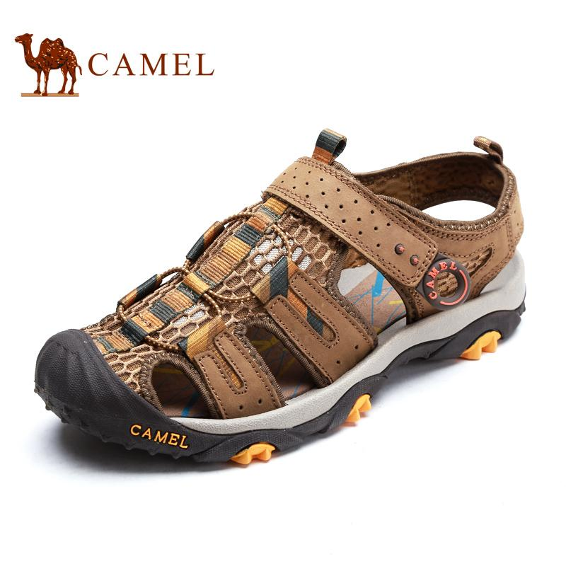 Camel Mens Sandals Summer Outdoor Sandals Closed-Toe Sandals Mens Shoes Breathable Leather Sandals By Taobao Collection.