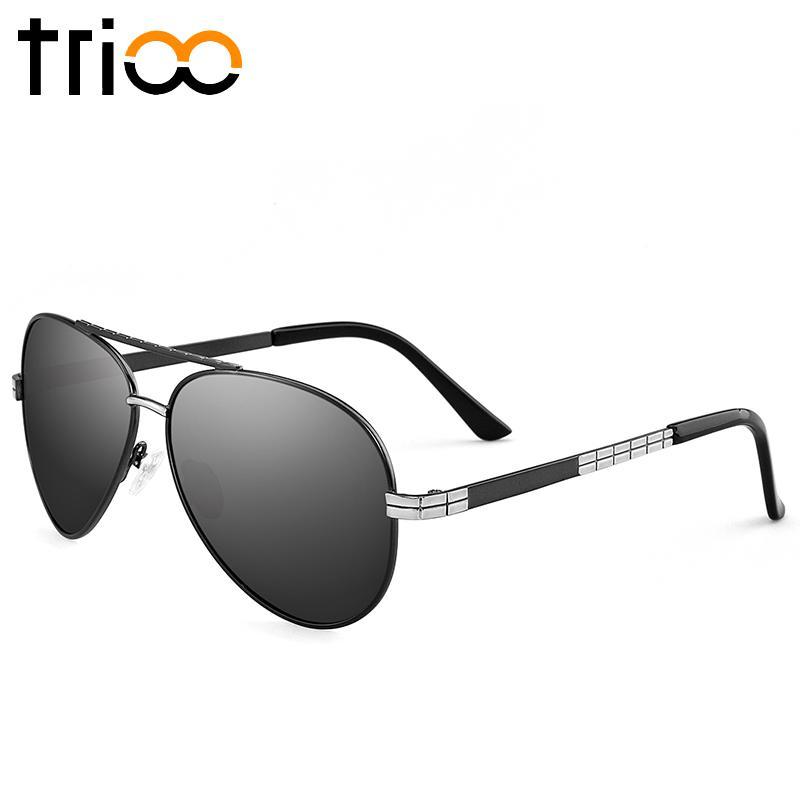 TRIO Brown Lens Tac Kacamata Terpolarisasi Pria Mengemudi Driver Shades Pria Asli Box Merek Oculos Sun Glasses Untuk Pria 2017 New Metallic Cherry