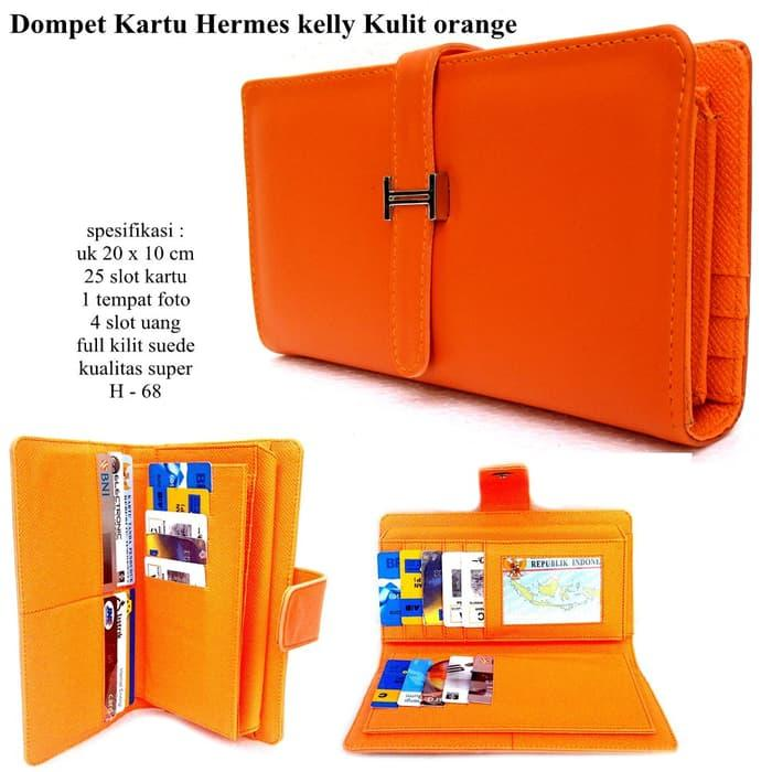 BEST SELLER!!! SHOPPING CARD ORGANIZER (SCO) DOMPET HERMES KELLY CARD SOFT ORANGE - kt3Y8E