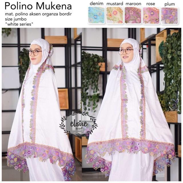 WHITE POLINO MUKENA Bordir Jumbo Kekinian Fashion Muslim Wanita Renda Mukenah Putih Yoshevien Elsire MAROON