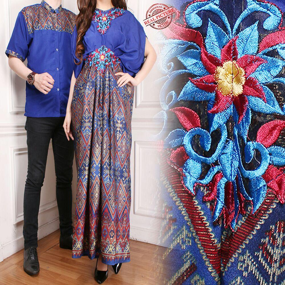 Cj collection Couple batik kaftan dress maxi panjang gamis kaftan wanita jumbo long dress dan atasan kemeja pria shirt Tania