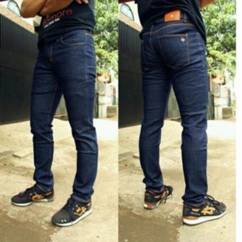 Celana Panjang Jeans Skinny Fit Biru dongker Pria