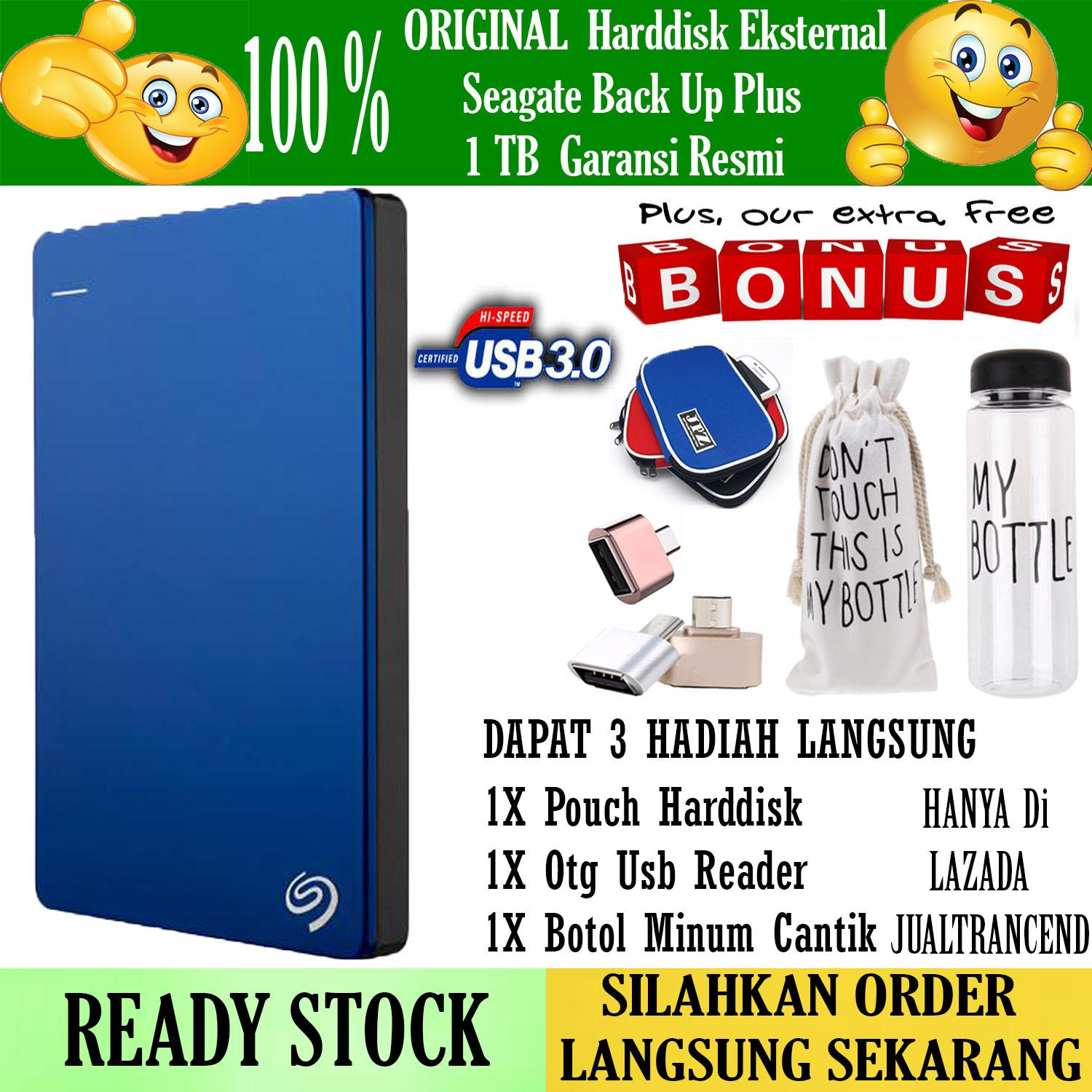 Original 100% Seagate Backup Plus Slim 1TB - HDD - HD - Hardisk External 2.5 - Gratis Usb Otg Mini Reader + Pouch Harddisk + Botol Minum My Bottle Cantik