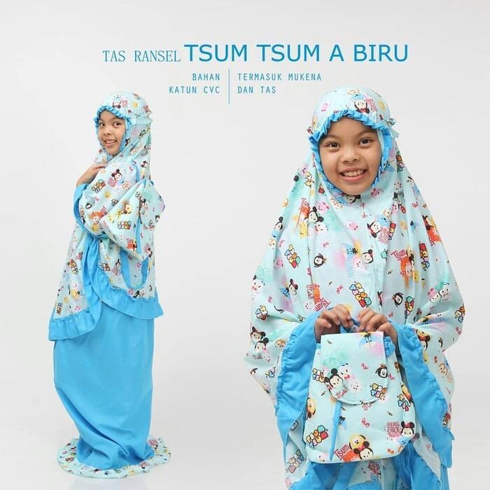 Butik Aisyah Mukena Anak Karakter Blue Tsum-Tsum bahan Adem dan Tidak Luntur