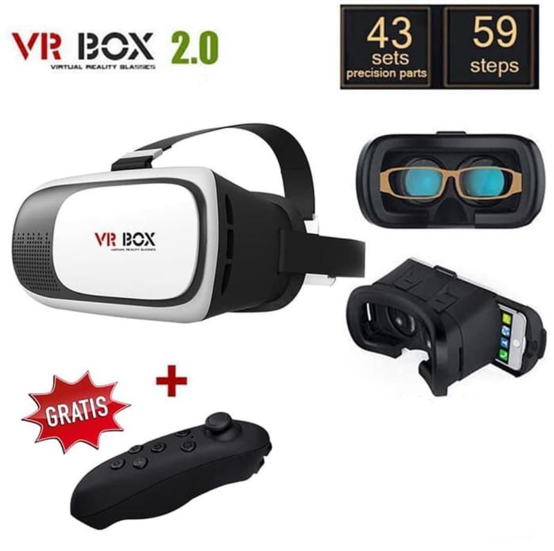 Kacamata Virtual 3D VR Box 2 + Remote Bluetooth