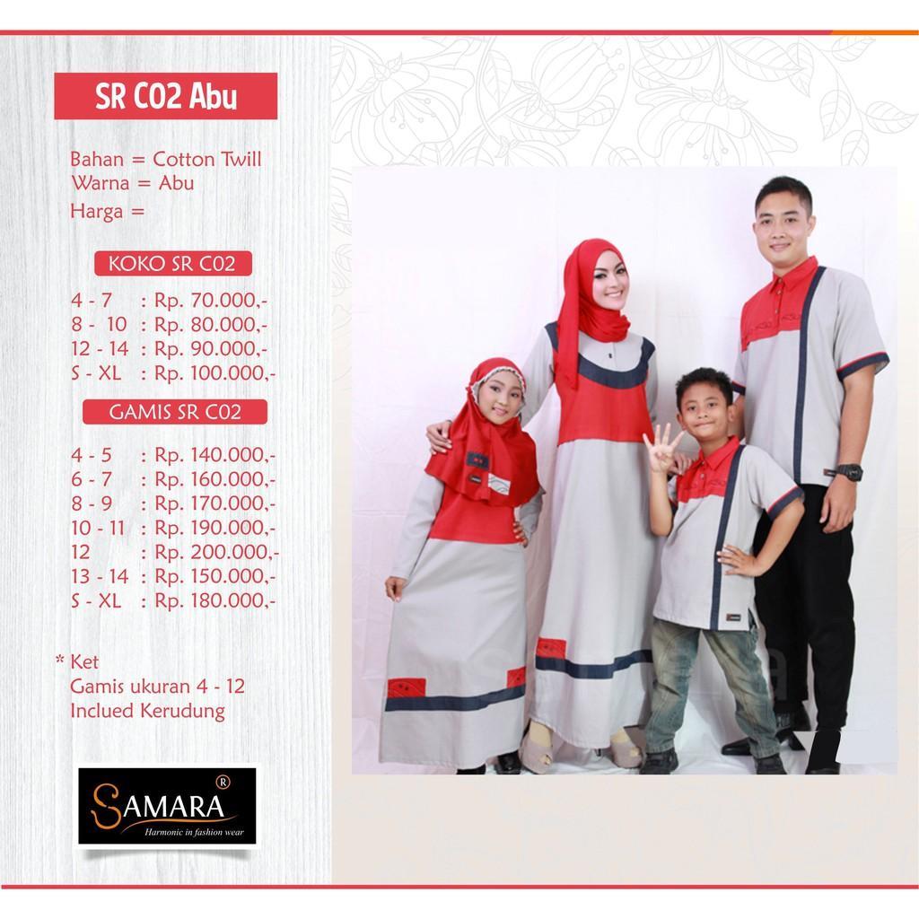 Baju Couple Keluarga Busana Muslim Sarimbit Gamis Syari Koko Pria Anak Wanita Lebaran / SAMARA C02 Koko L