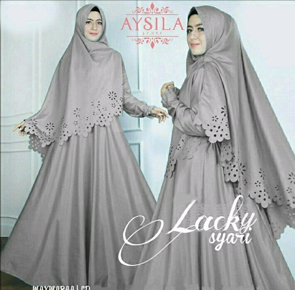 Fashion.Area - Lacky Syari Abu (Dapat Jilbab) / Dress Muslim / Gamis Wanita / Baju Muslim / Hijab Muslim / Fashion Muslim / Syar'i Muslim / Maxi Dress Lengan Panjang / Gamis Modern / Gamis Busui