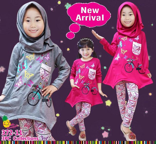 Baju Muslim Anak Perempuan Little Pineapple Butterfly Pink Abu Legging