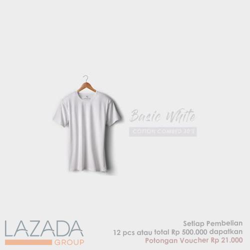 Kaos Polos Basic White Fashion-able Label [PREMIUM QUALITY]