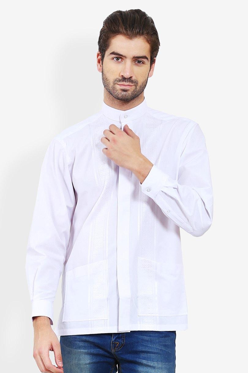 Alisan Koko Bordir Panjang Putih Pakaian Atasan Kemeja Formal Pria