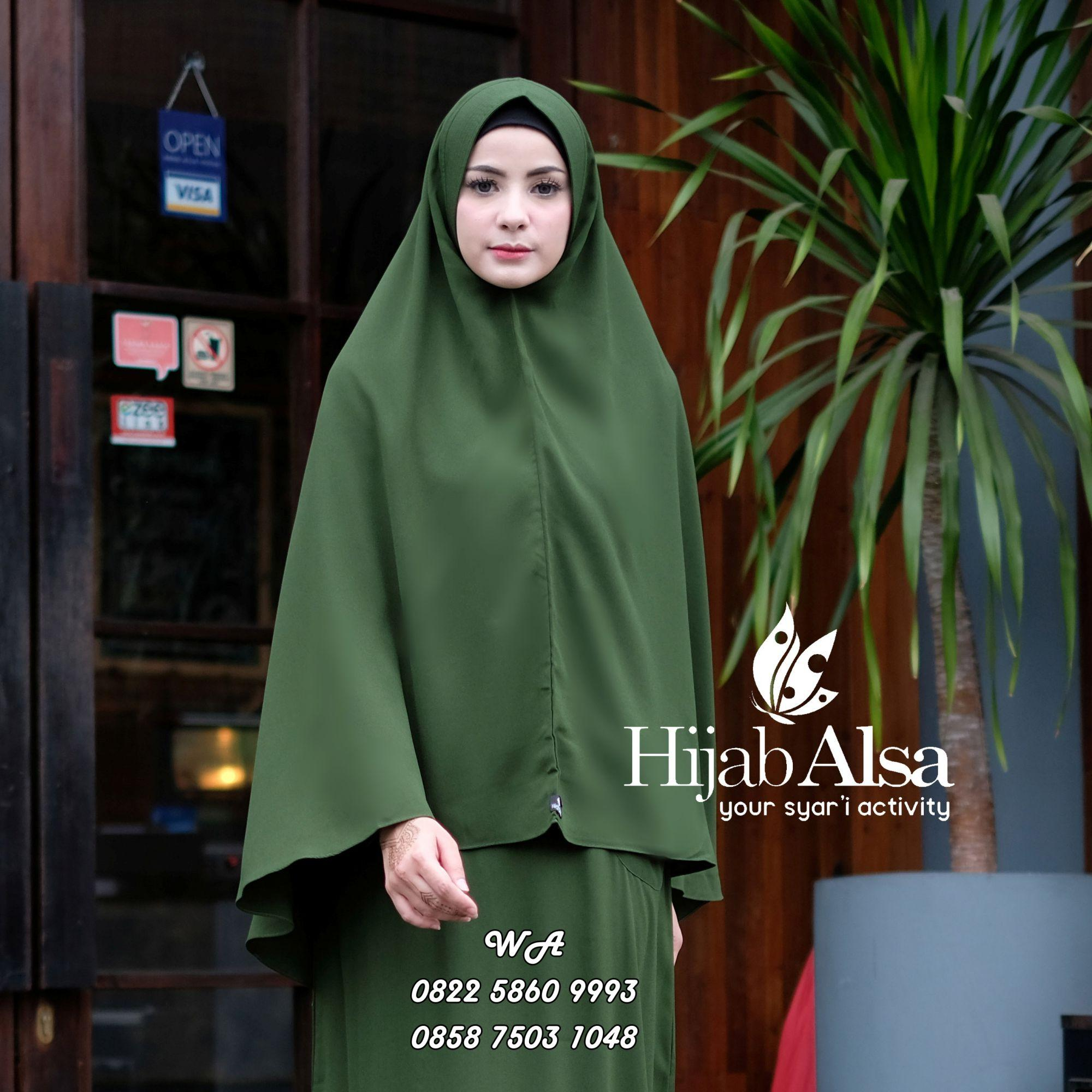 Hijab Alsa Raisa Jilbab Syari Instan Langsung Pakai Warna Hijau Army