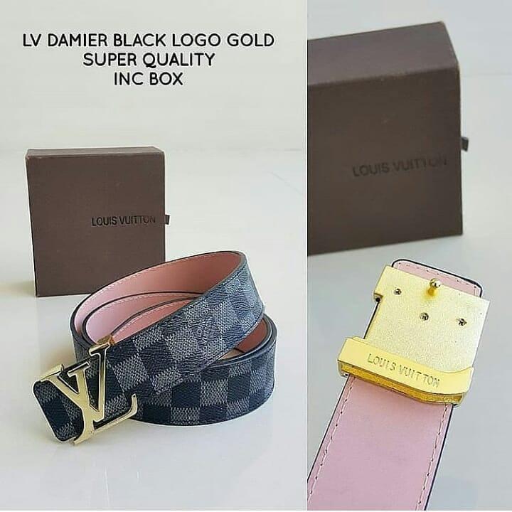 Ikat Pinggang LV Damier Black Logo Gold